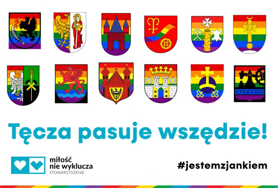 Tęczowe herby Katowic, Chorzowa i Rudy Śląskiej? Internauci w ten sposób solidaryzują się z 16-letnim Jankiem - galeria