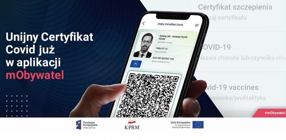 Unijny Certyfikat COVID już w aplikacji mObywatel! - galeria