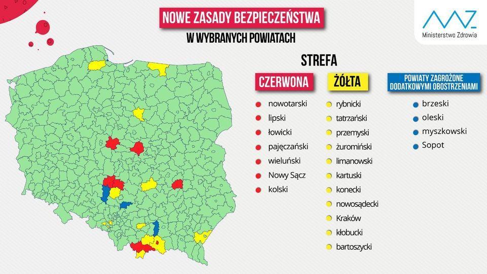 Rybnik opuścił czerwoną strefę, a Ruda Śląska – żółtą. Od dziś zmiany na koronawirusowej mapie Polski - galeria