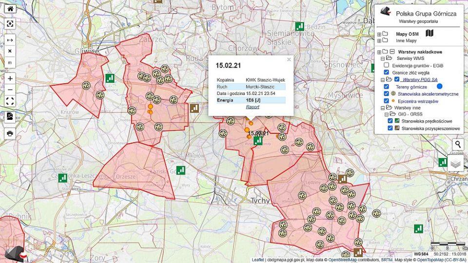 Polska Grupa Górnicza udostępniła w Internecie mapę wstrząsów górniczych swych kopalń - galeria