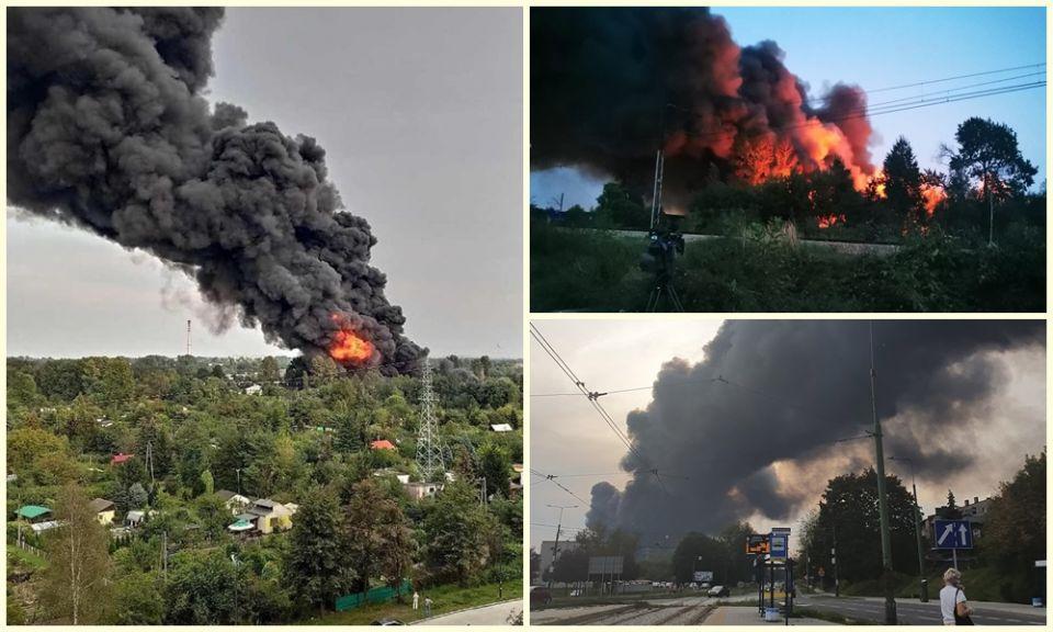 Pożar w Sosnowcu: Pali się składowiskoodpadów - galeria